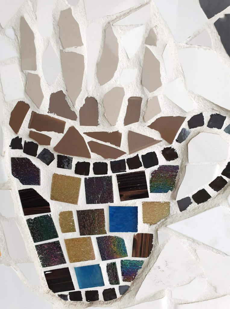 Detail of Jesmond Park UCA mosaic mural showing steaming mug