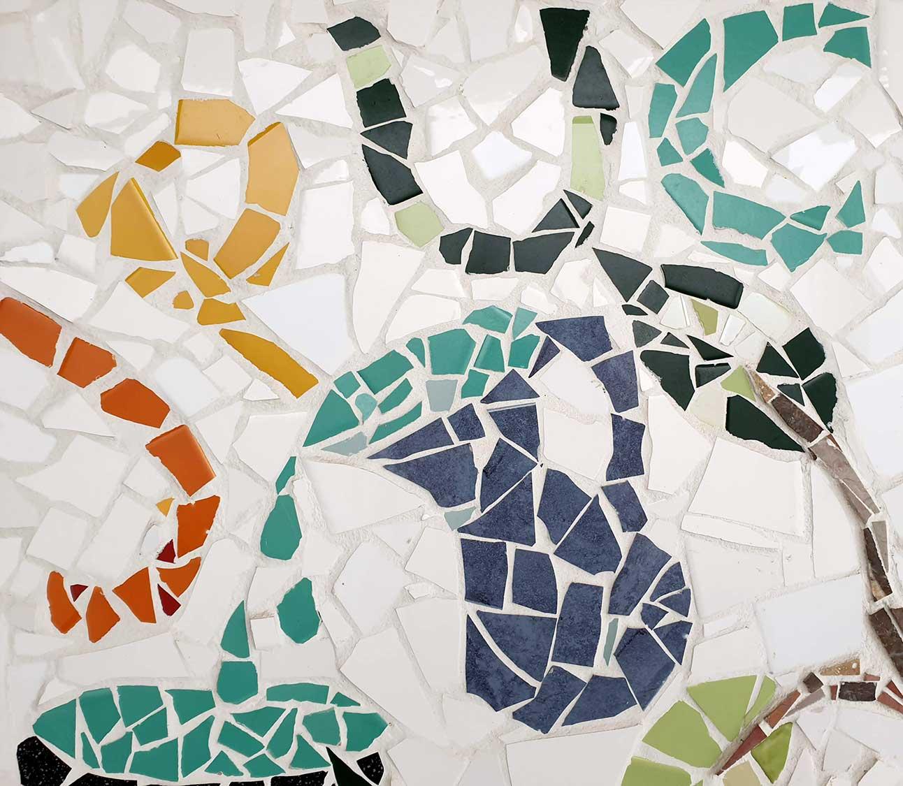 Detail of Jesmond Park UCA mosaic mural showing jug pouring water